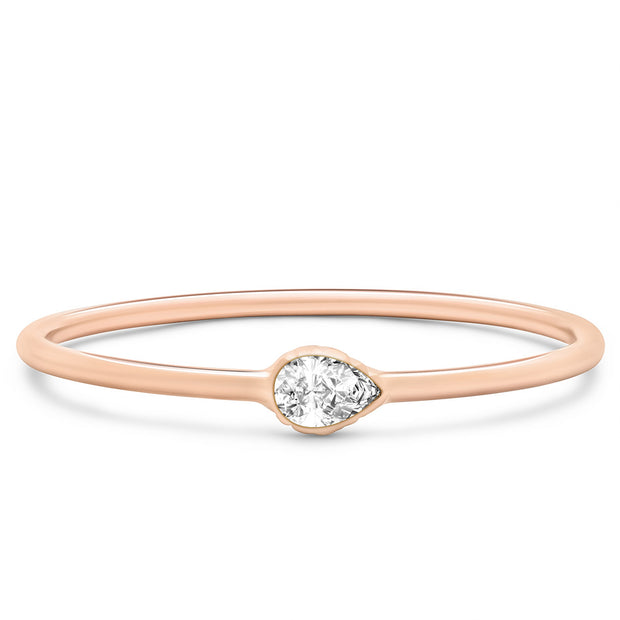14K Solid Rose Gold East West Pear Shape Diamond Stacking Ring