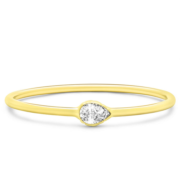 14K Solid Gold East West Pear Shape Diamond Stacking Ring