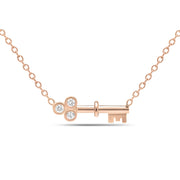14K Solid Gold Diamond Key Love Necklace Rose Gold