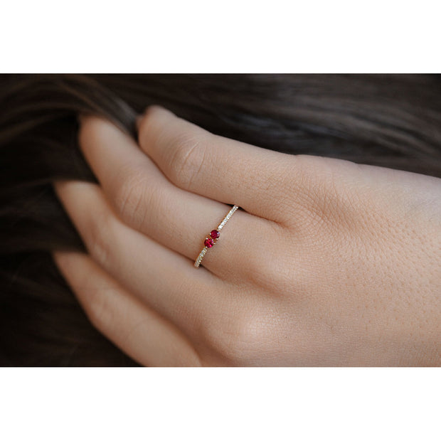 14K Solid Gold Dual Ruby Meaningful Diamond Band Model 3