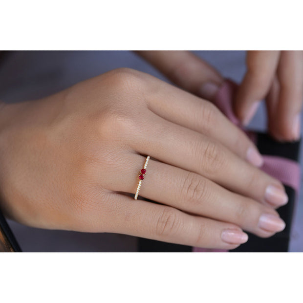 14K Solid Gold Dual Ruby Meaningful Diamond Band Model 1