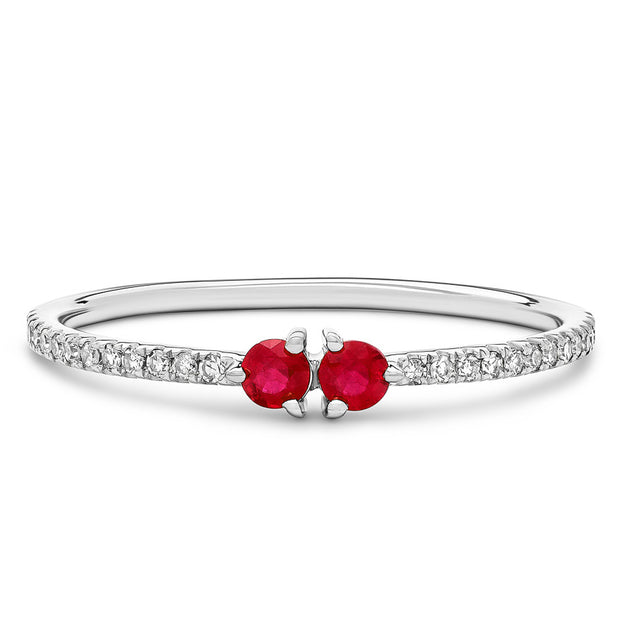 14K Solid White Gold Dual Ruby Meaningful Diamond Band