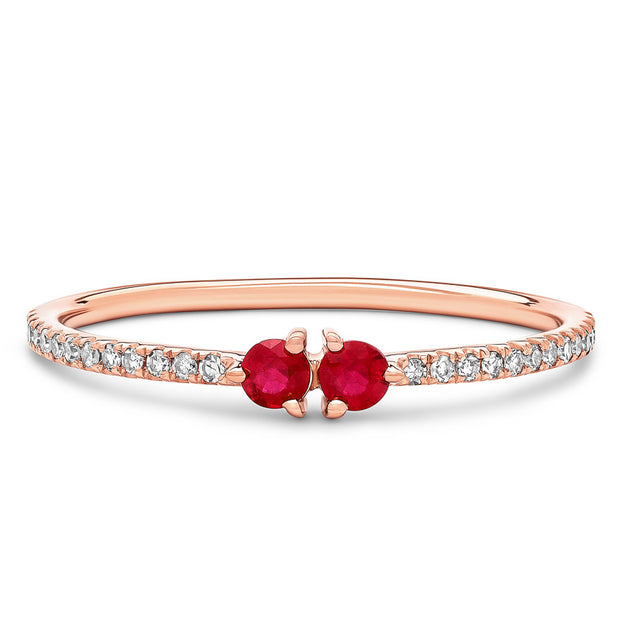 14K Solid Rose Gold Dual Ruby Meaningful Diamond Band