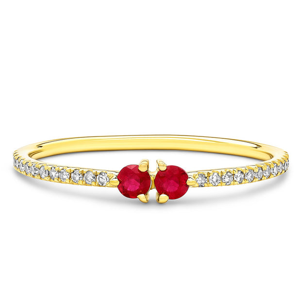 14K Solid Gold Dual Ruby Meaningful Diamond Band