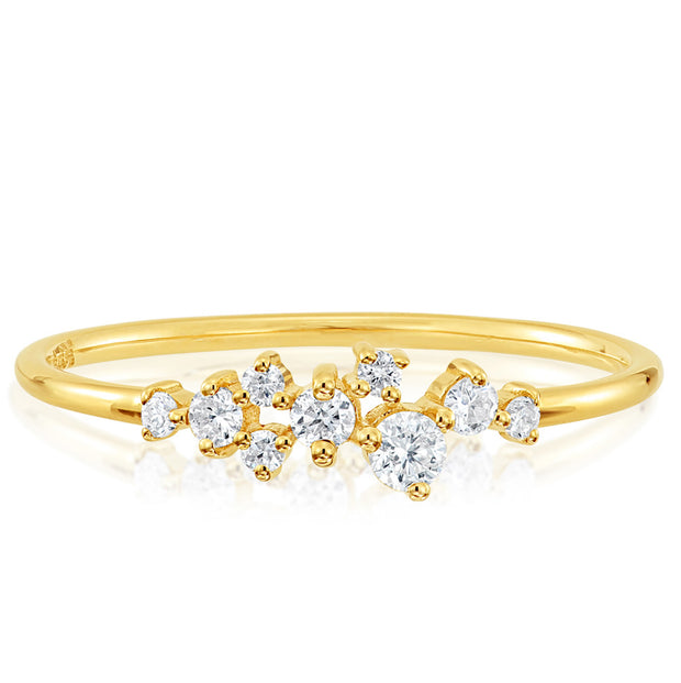 14K Solid Gold Round Brilliant Cut Various Size Diamond Cluster Ring