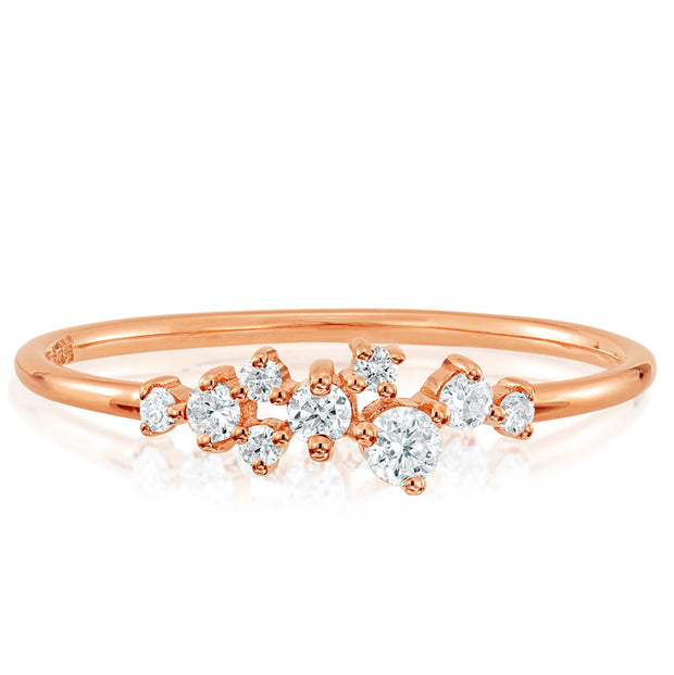 14K Solid Gold Round Brilliant Cut Various Size Diamond Cluster Ring Rose Gold