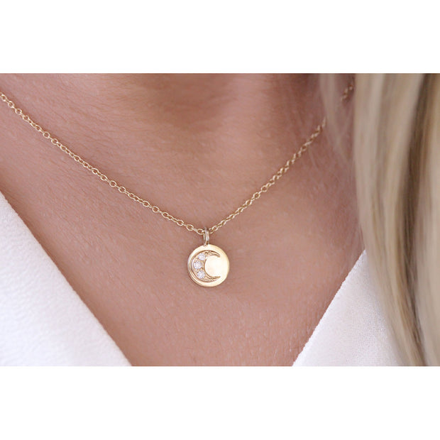 14K Solid Gold Round Diamond Moon and Sun Necklace Model 1