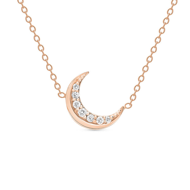 14K Solid Gold Meaningful Diamond Moon Necklace Rose Gold