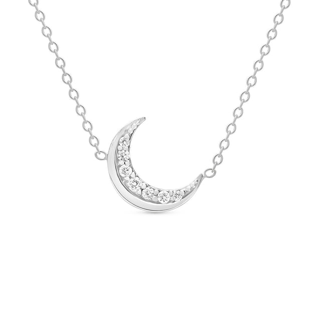 14K Solid Gold Meaningful Diamond Moon Necklace White Gold
