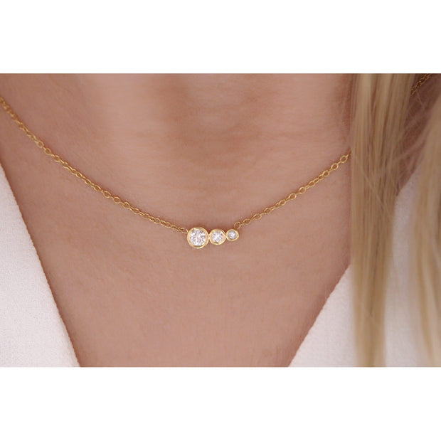 14K Solid Gold Diamond Mother Daughters Necklace Model 2