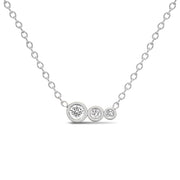 14K Solid Gold Diamond Mother Daughters Necklace White Gold
