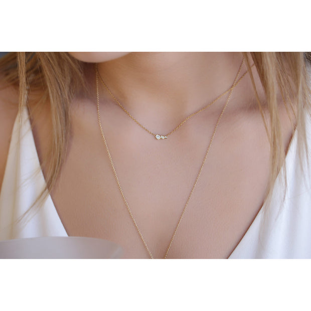 14K Solid Gold Diamond Mother Daughters Necklace Model 1
