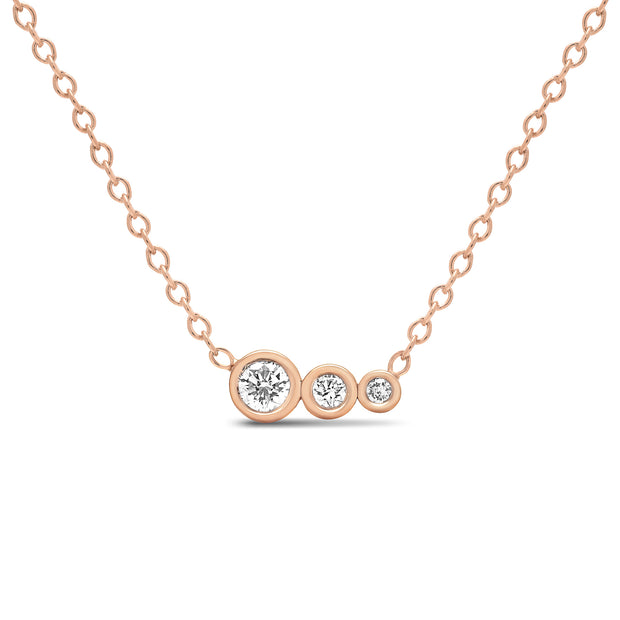 14K Solid Gold Diamond Mother Daughters Necklace Rose Gold