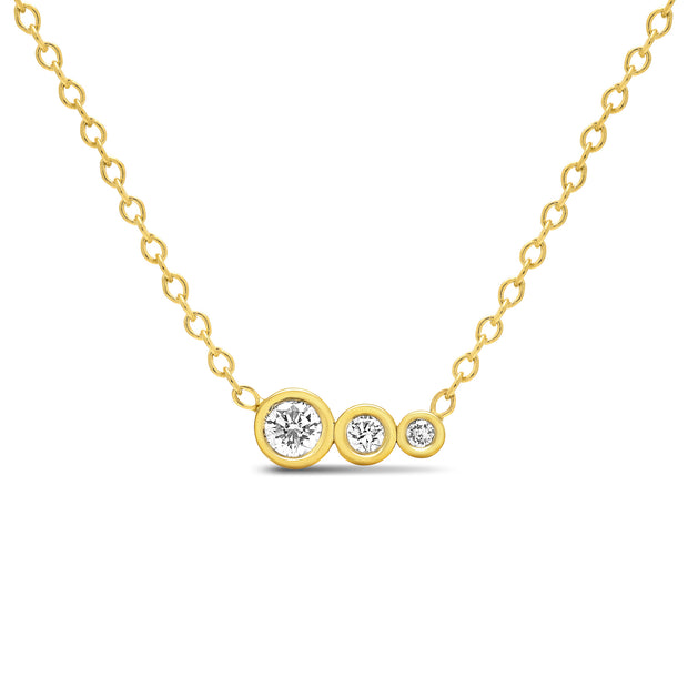 14K Solid Gold Diamond Mother Daughters Necklace