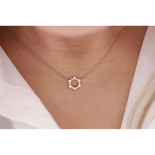 14K Solid Gold Open Cluster Halo Diamond Necklace Model 2