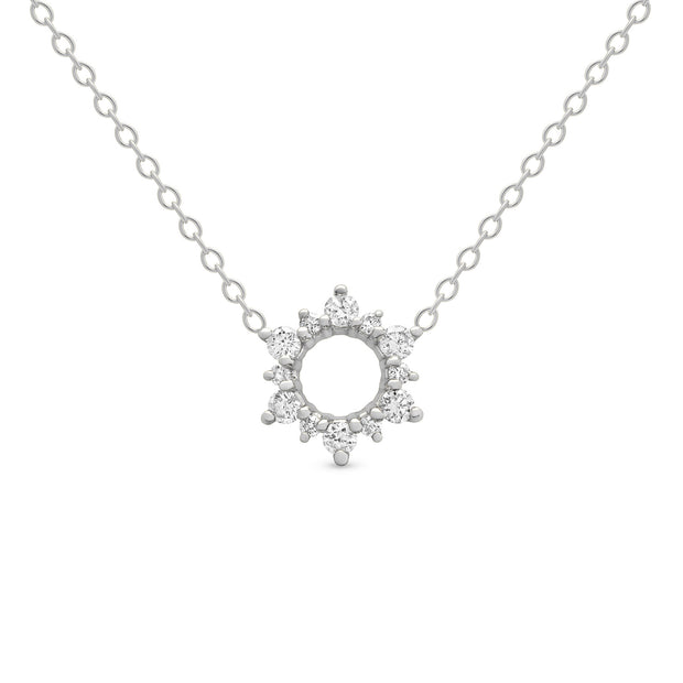 14K Solid Gold Open Cluster Halo Diamond Necklace White Gold