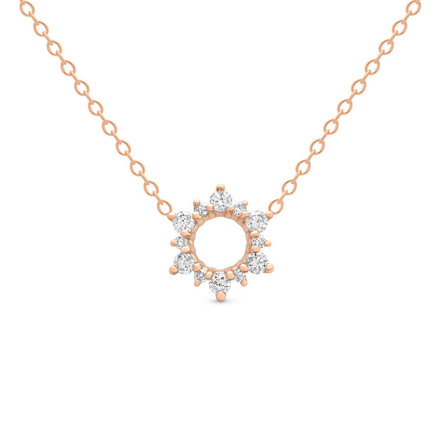 14K Solid Gold Open Cluster Halo Diamond Necklace Rose Gold