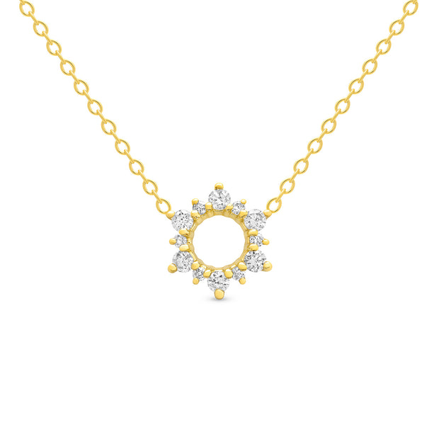 14K Solid Gold Open Cluster Halo Diamond Necklace