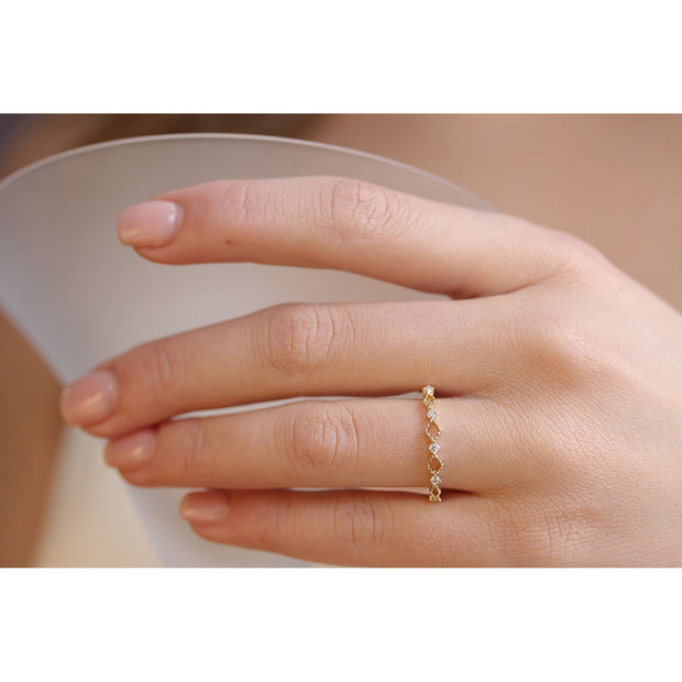 14K Solid Gold Open Lace Chevron Diamond Band Lifestyle Pic 2
