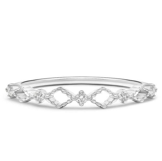 14K Solid White Gold Open Lace Chevron Diamond Band