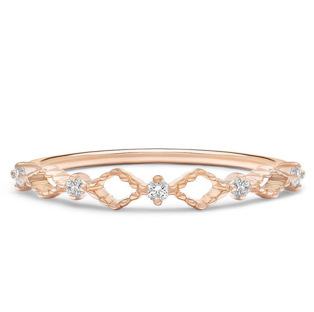 14K Solid Rose Gold Open Lace Chevron Diamond Band