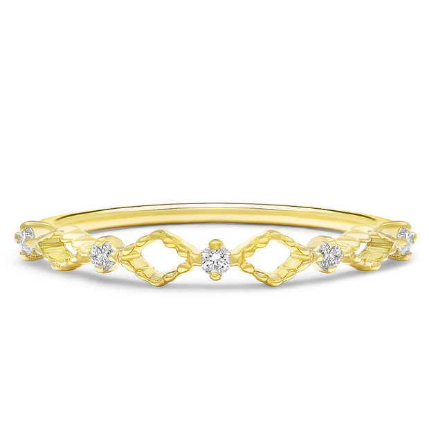 14K Solid Gold Open Lace Chevron Diamond Band