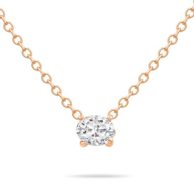 14K Solid Gold Diamond Solitaire Oval Necklace Rose Gold