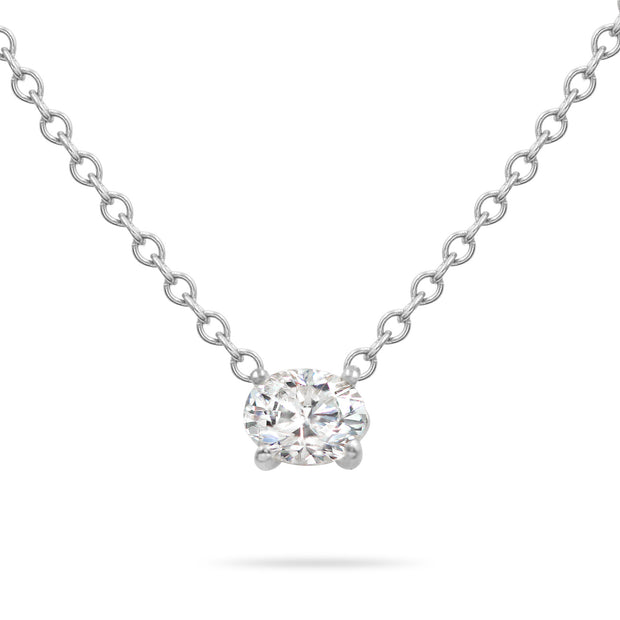 14K Solid Gold Diamond Solitaire Oval Necklace White Gold