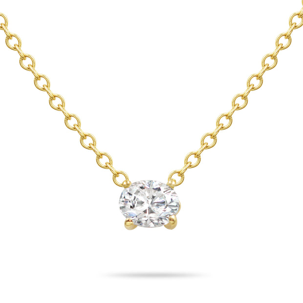 14K Solid Gold Diamond Solitaire Oval Necklace