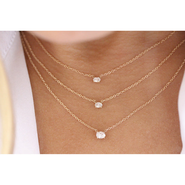 14K Solid Gold Diamond Solitaire Oval Necklace Model 1