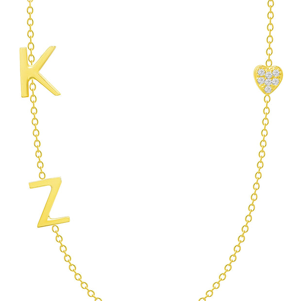 14K Solid Gold Diamond Pave Heart Double Initials Necklace