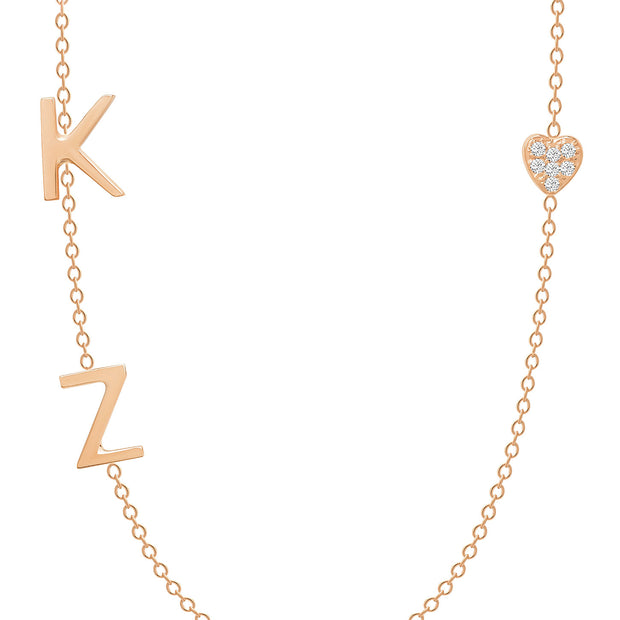 14K Solid Rose Gold Diamond Pave Heart Double Initials Necklace