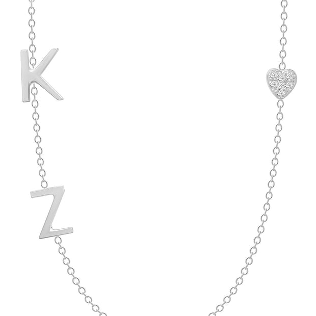 14K Solid White Gold Diamond Pave Heart Double Initials Necklace