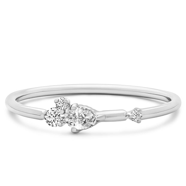 14K Solid White Gold Pear Shape Round Diamond Cluster Stackable Band