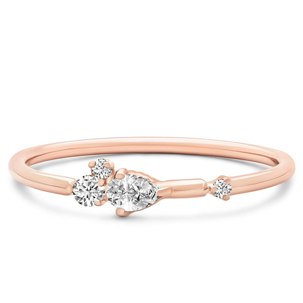 14K Solid Rose Gold Pear Shape Round Diamond Cluster Stackable Band