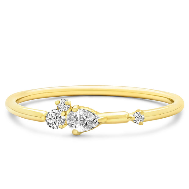 14K Solid Gold Pear Shape Round Diamond Cluster Stackable Band