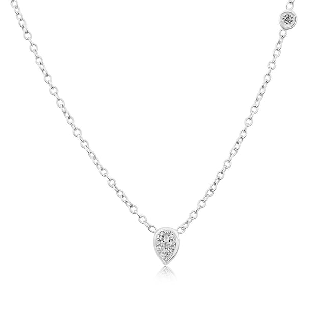 14K Solid White Gold Pearshape Diamond Multistone Necklace