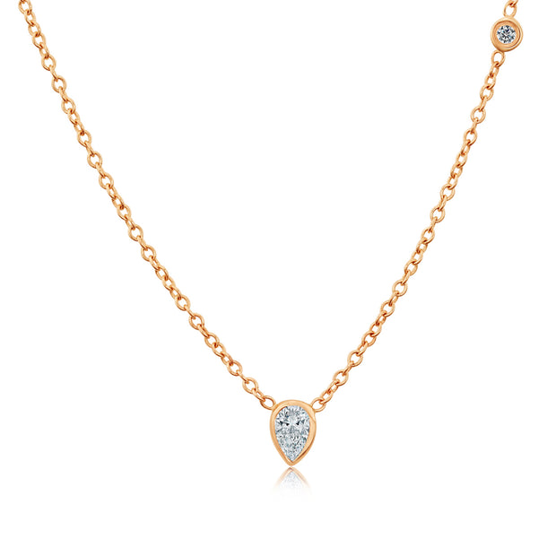 14K Solid Rose Gold Pearshape Diamond Multistone Necklace
