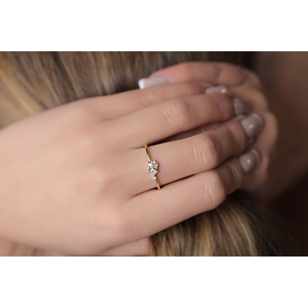 14K Solid Gold Multishape Princess Round Brilliant Cut Diamond Cluster Ring Model 2