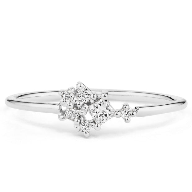 14K Solid Gold Multishape Princess Round Brilliant Cut Diamond Cluster Ring White Gold
