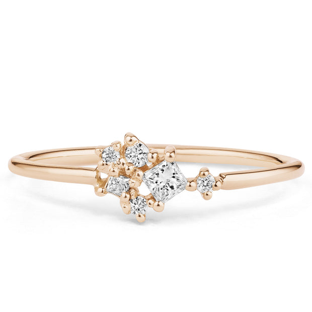 14K Solid Gold Multishape Princess Round Brilliant Cut Diamond Cluster Ring Rose Gold