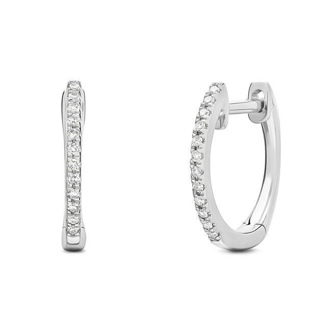 14K Solid White Gold Pave Diamond 1/2'' Hoop Earrings