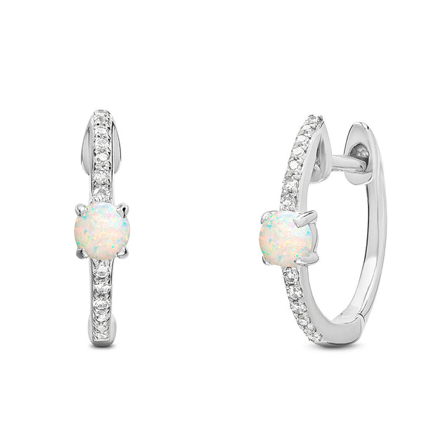 14K Solid White Gold Pave Diamond Opal Hoop Earrings