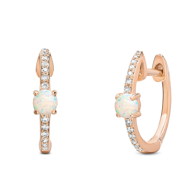 14K Solid Rose Gold Pave Diamond Opal Hoop Earrings
