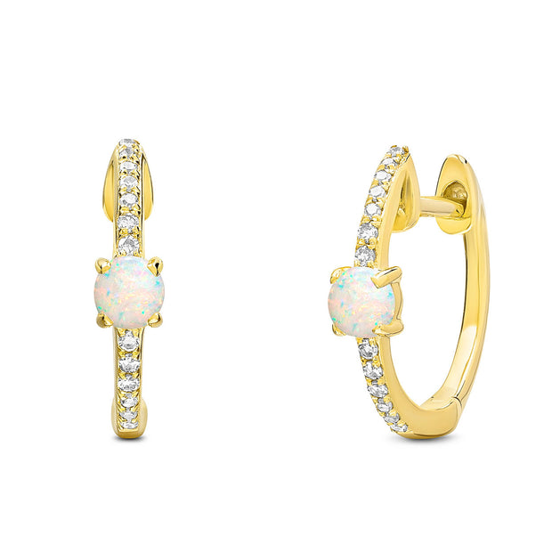 14K Solid Gold Pave Diamond Opal Hoop Earrings