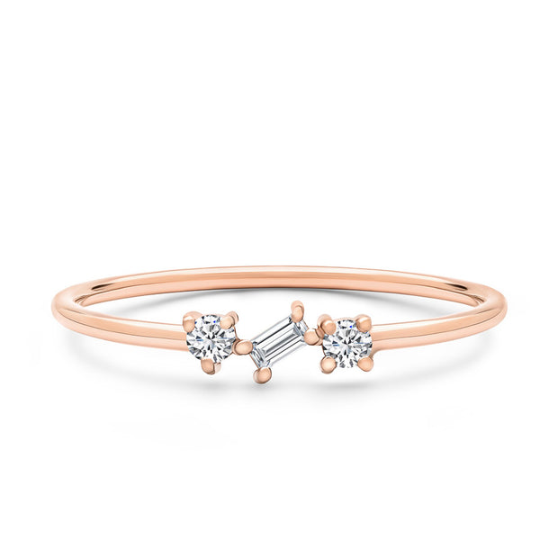14K Solid Rose Gold Round Baguette Diamond Three Stone Stackable Ring
