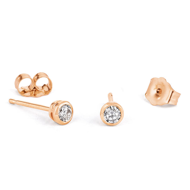 14K Solid Gold Diamond Bezel Studs Rose Gold