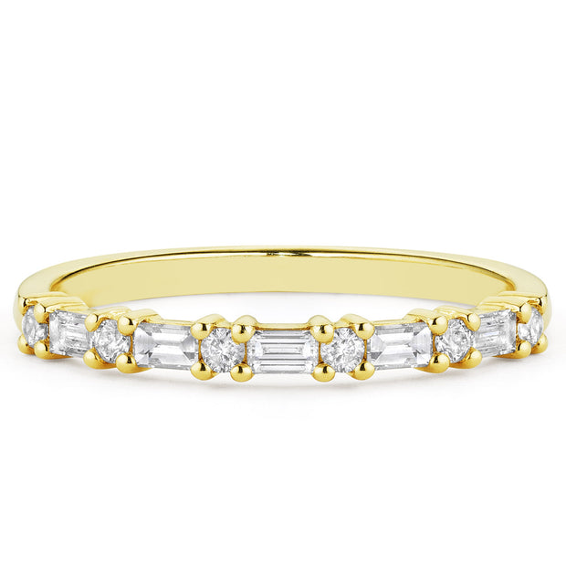 14K Solid Gold Round Baguette Half Eternity Band