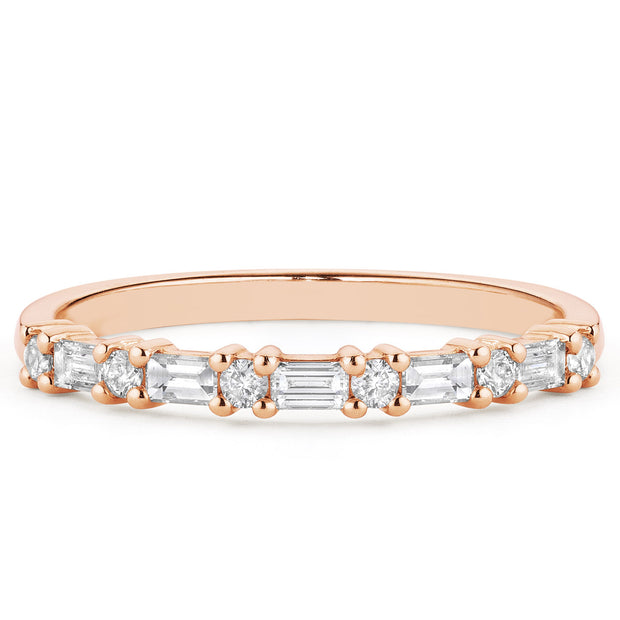 14K Solid Gold Round Baguette Half Eternity Band Rose Gold