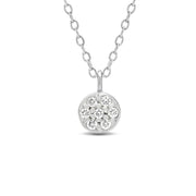 14K Solid Gold Diamond Cluster Pave Disc Necklace White Gold